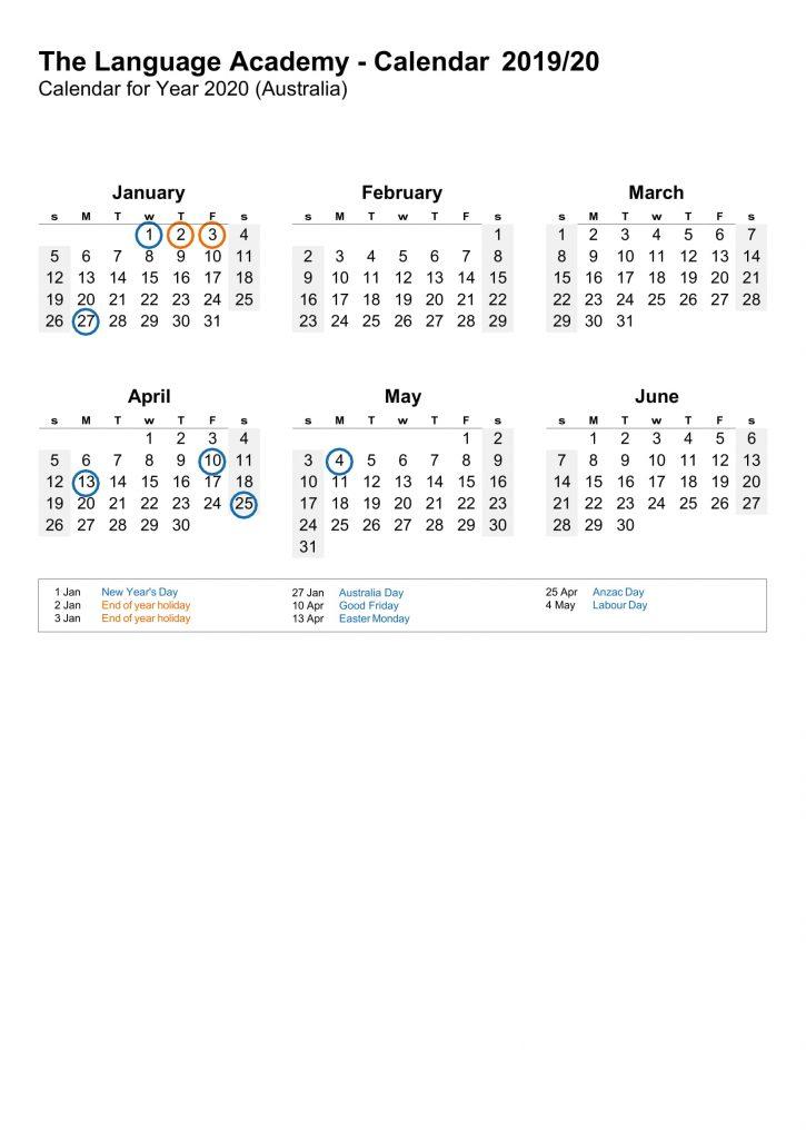 The Language Academy Calendar - 2019-20-2