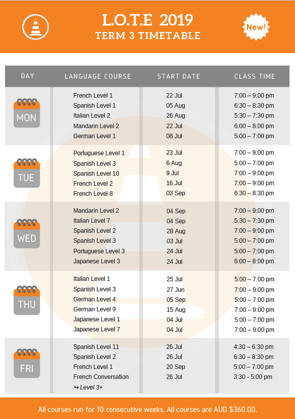 LOTE Course Timetable - Term 3 - 2019 - The Language Academy (Updated 29_07)